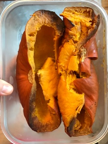 Roasted whole pumpkin used as the pumpkin puree after peeling off skin